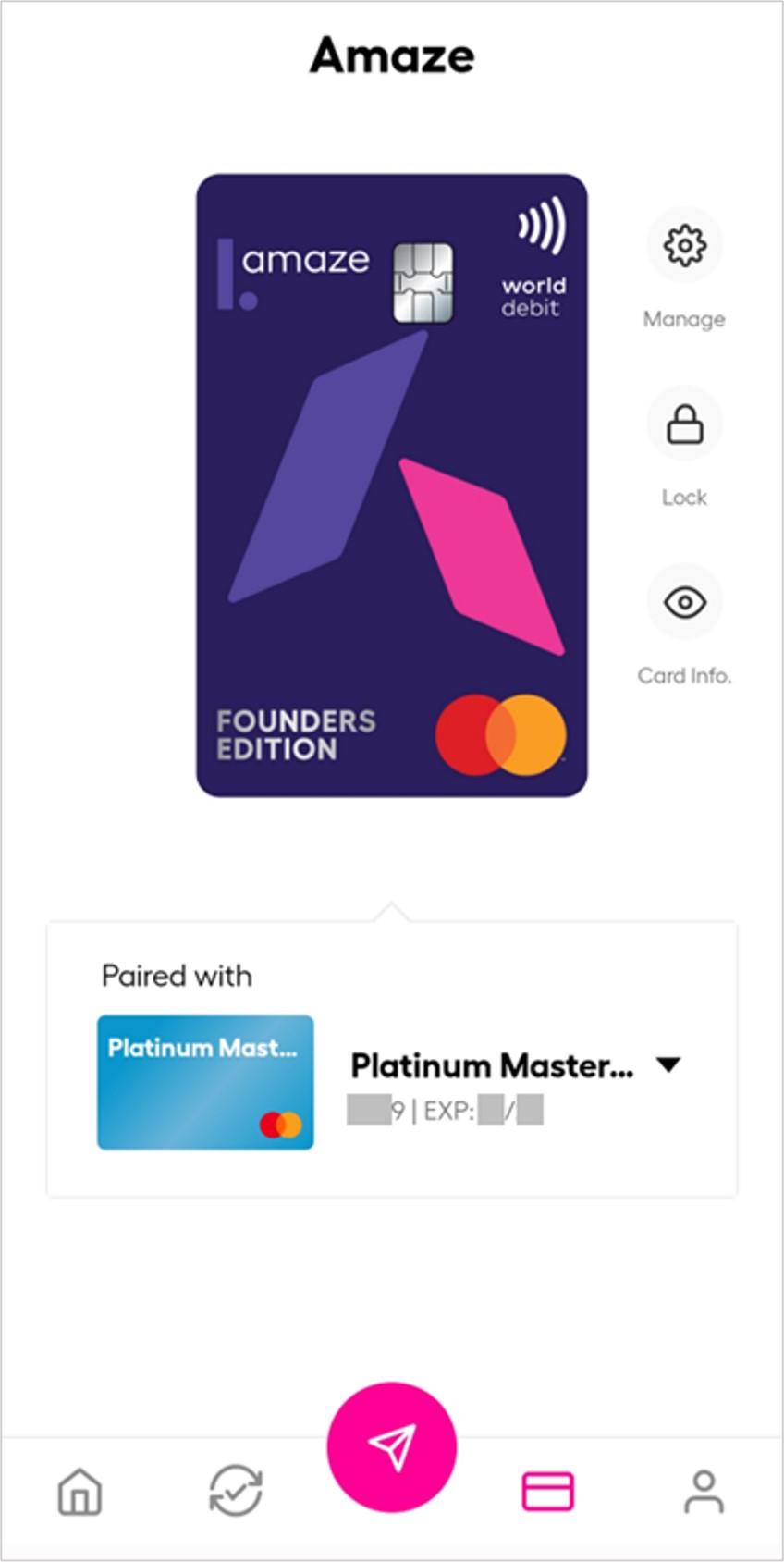 Paired Mastercard on amaze