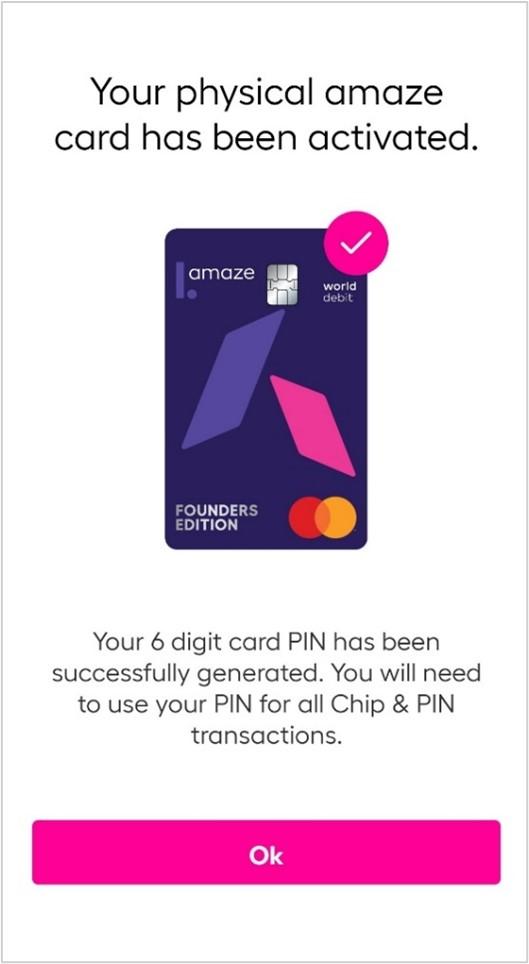 amaze card confirmation screen